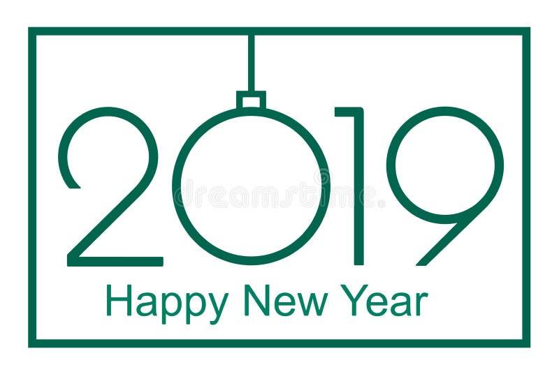 2019 Gelukkige Nieuwjaar of Kerstmis stock illustratie