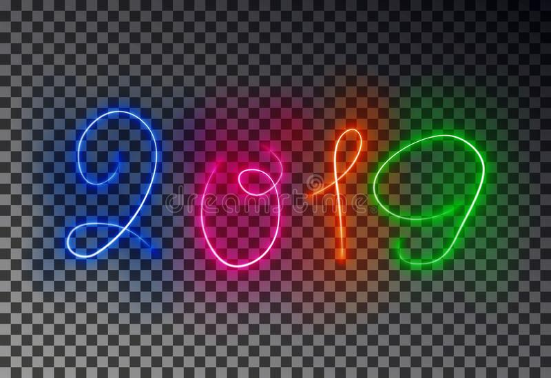 Gelukkige 2019 Nieuwjaar lichte lijn Het gloeien magisch geïsoleerd kleureneffect op transparante achtergrond Vecto vector illustratie