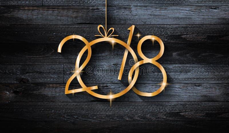 2018 Gelukkige Nieuwjaar seizoengebonden achtergrond met echte houten groene pijnboom stock afbeeldingen
