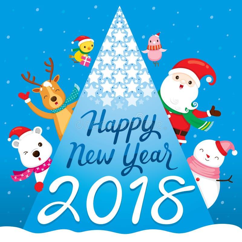 Gelukkige Nieuwjaar 2018 Tekst, Santa Claus, Rendier, Sneeuwman en Fri royalty-vrije illustratie