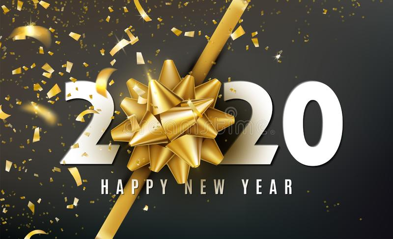 2020 Gelukkige Nieuwjaar vectorachtergrond met gouden giftboog, confettien, witte aantallen Kerstmis viert ontwerp feestelijk vector illustratie