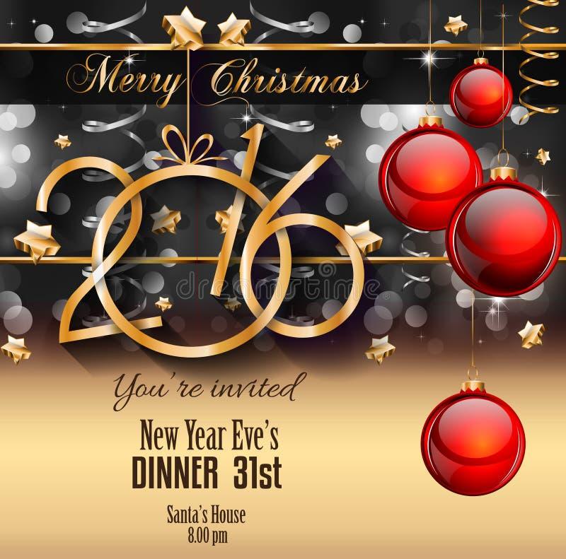 2016 Gelukkige Nieuwjaarachtergrond voor uw Kerstmisvliegers royalty-vrije illustratie