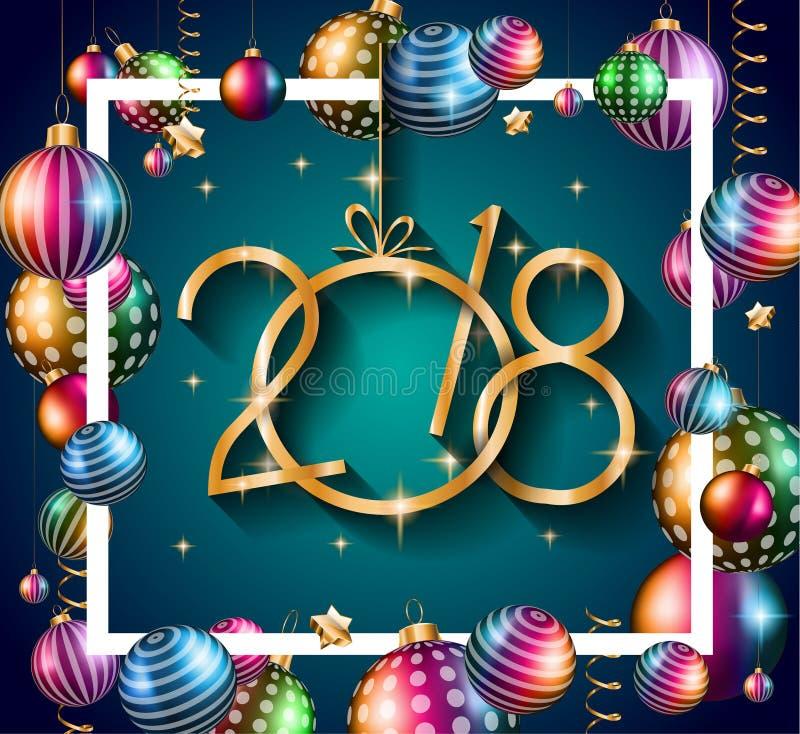 2018 Gelukkige Nieuwjaarachtergrond voor uw Seizoengebonden Vliegers royalty-vrije illustratie