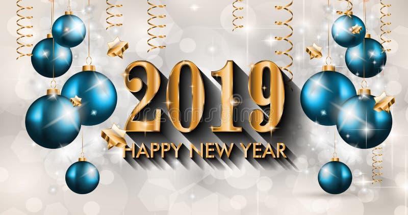 2019 Gelukkige Nieuwjaarachtergrond voor uw Seizoengebonden Vliegers en Gree royalty-vrije illustratie