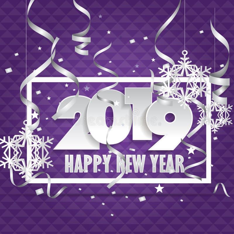 2019 Gelukkige Nieuwjaarachtergrond voor uw Seizoengebonden Vliegers en Groetenkaart of Kerstmis als thema gehade uitnodigingen vector illustratie