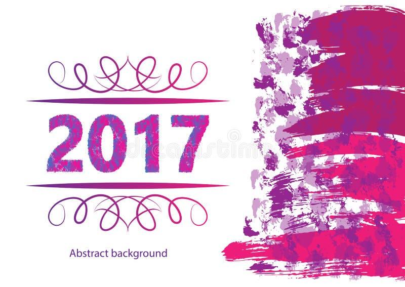 2017 Gelukkige Nieuwjaarachtergrond voor uw Vliegers en Groetenkaart Ideaal aan gebruik voor partijenuitnodiging, Dineruitnodigin vector illustratie