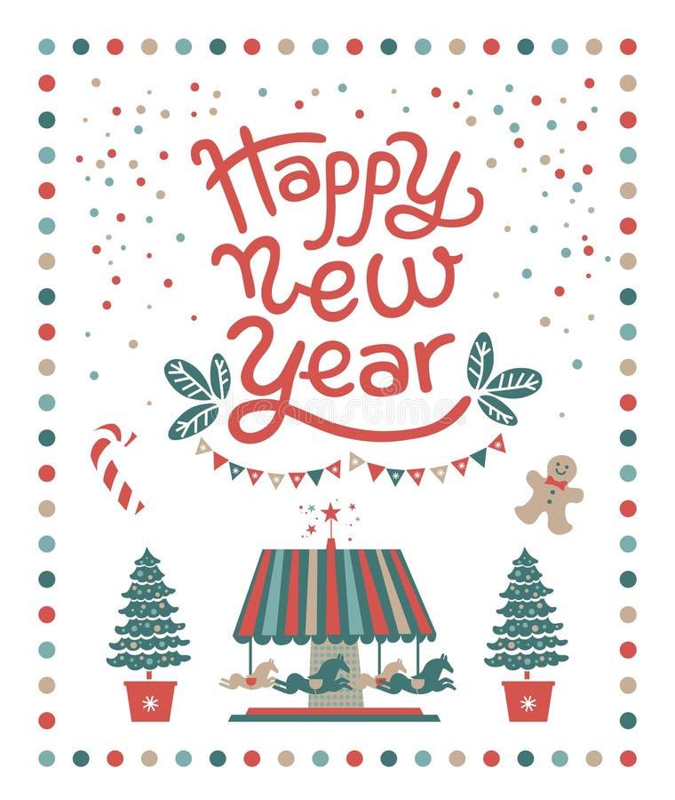 Gelukkige Nieuwjaaraffiche, prentbriefkaarontwerp vector illustratie