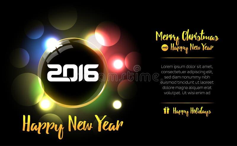 Gelukkige Nieuwjaarbal met de tekst van 2016 Nieuwjaarskaart 2016 Mooie decoratieve glanzende Kerstmisbal voor Vrolijke Kerstmisv stock illustratie