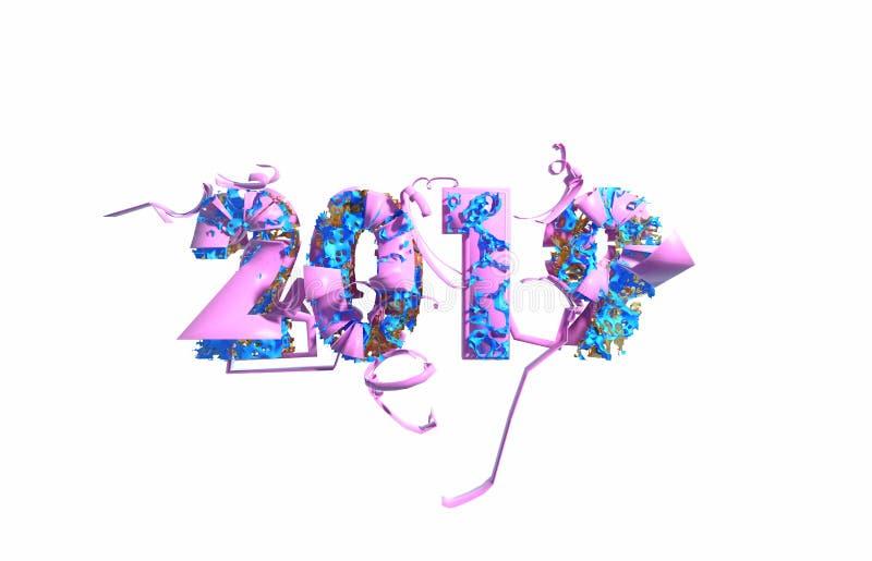 Gelukkige Nieuwjaarbanner met in roze die de kleurenaantallen van 2019 door plastic en organische matterwhiteachtergrond worden g stock illustratie