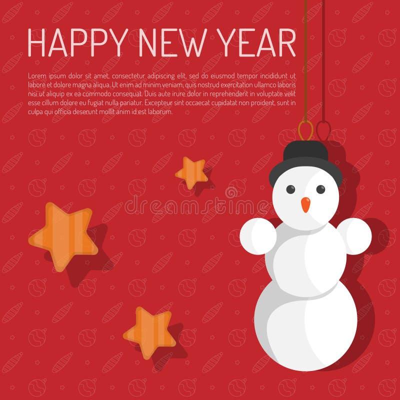 Gelukkige Nieuwjaarhand het van letters voorzien inschrijving op rode achtergrond Vectorillustratie voor groetkaart royalty-vrije illustratie