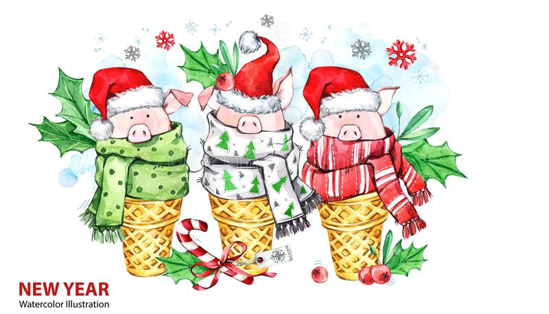 2019 Gelukkige Nieuwjaarillustratie De grens van Kerstmis Leuke varkens met Kerstmanhoed in wafelkegels Groetwaterverf royalty-vrije illustratie