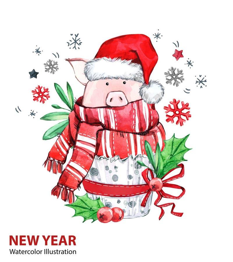 2019 Gelukkige Nieuwjaarillustratie Kerstmis Leuk varken in de wintersjaal met Kerstmanhoed De cake van de groetwaterverf Symbool vector illustratie