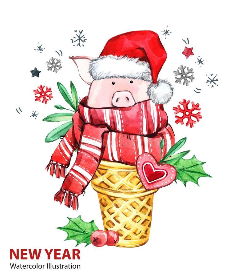 2019 Gelukkige Nieuwjaarillustratie Kerstmis Leuk varken met Kerstmanhoed in wafelkegel Het dessert van de groetwaterverf Symbool stock illustratie