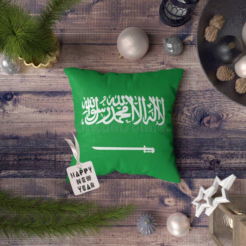 Gelukkige Nieuwjaarmarkering met het Boekdeel van Saudi-Arabië en de vlag van Principe op hoofdkussen Het concept van de Kerstmis royalty-vrije illustratie