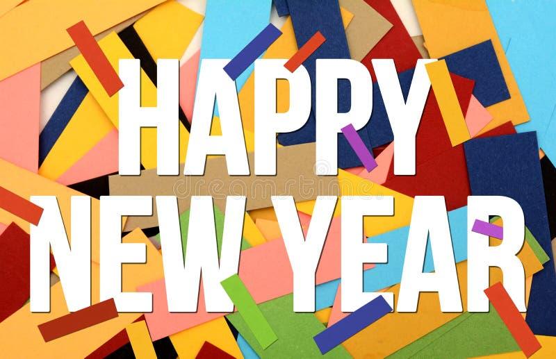 Gelukkige Nieuwjaarprentbriefkaar met Kleurrijke document kaarten stock foto's