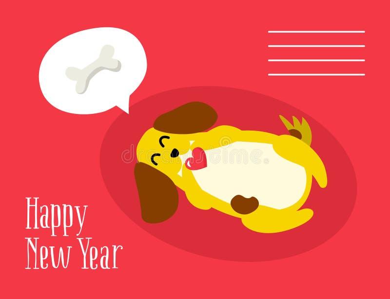 Gelukkige Nieuwjaarprentbriefkaar met leuke hond die over een been op rode achtergrond dromen Vlakke stijl royalty-vrije illustratie