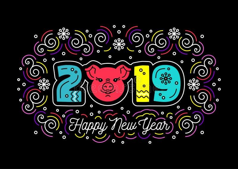 2019 Gelukkige Nieuwjaarskaart Kleurrijk Nummer 2019, Varkenspictogram, in wervelingen op een donkere achtergrond Dunne gekleurde royalty-vrije illustratie