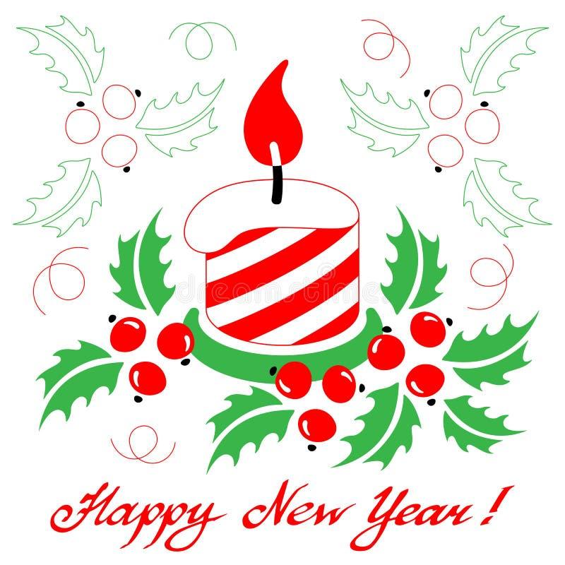 Gelukkige Nieuwjaarskaart met een gestileerde Kerstmiskaars op witte bedelaars vector illustratie