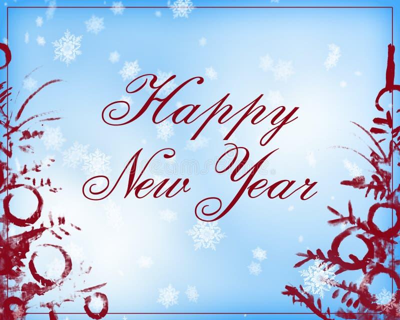 Gelukkige Nieuwjaartekst in lichtblauwe en donkerrode kleur stock illustratie