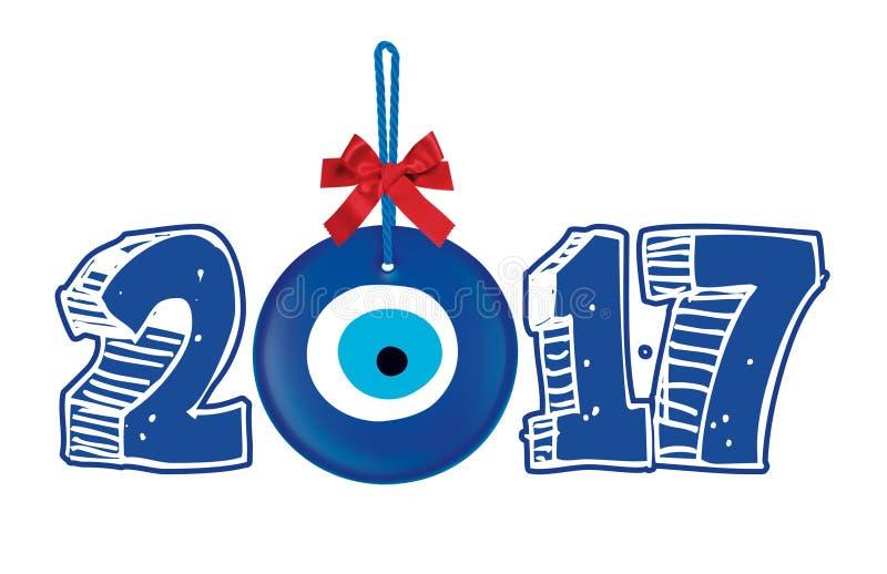 2017 Gelukkige Nieuwjaartypografie stock foto's