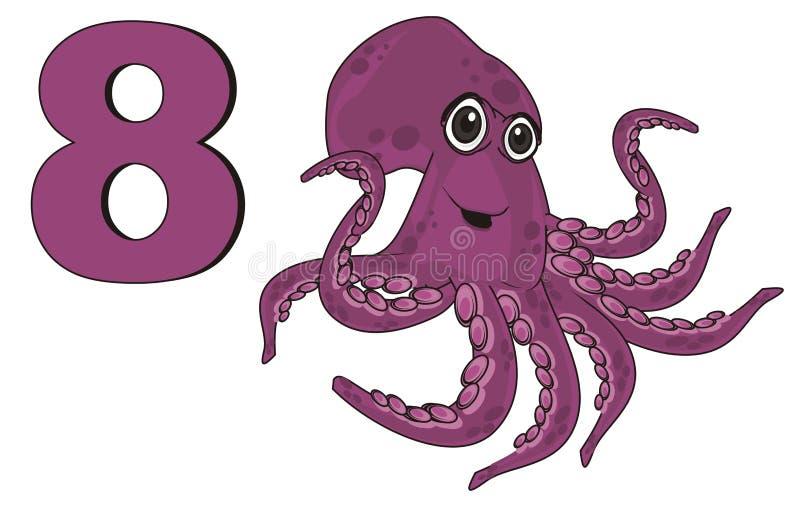 Gelukkige octopus met aantal vector illustratie