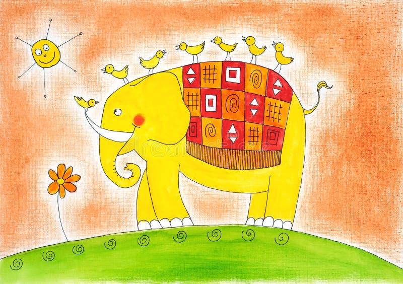 Gelukkige olifant en vogels, de tekening van het kind, waterverf het schilderen stock illustratie