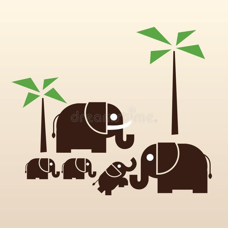 Gelukkige olifantsfamilie stock afbeelding