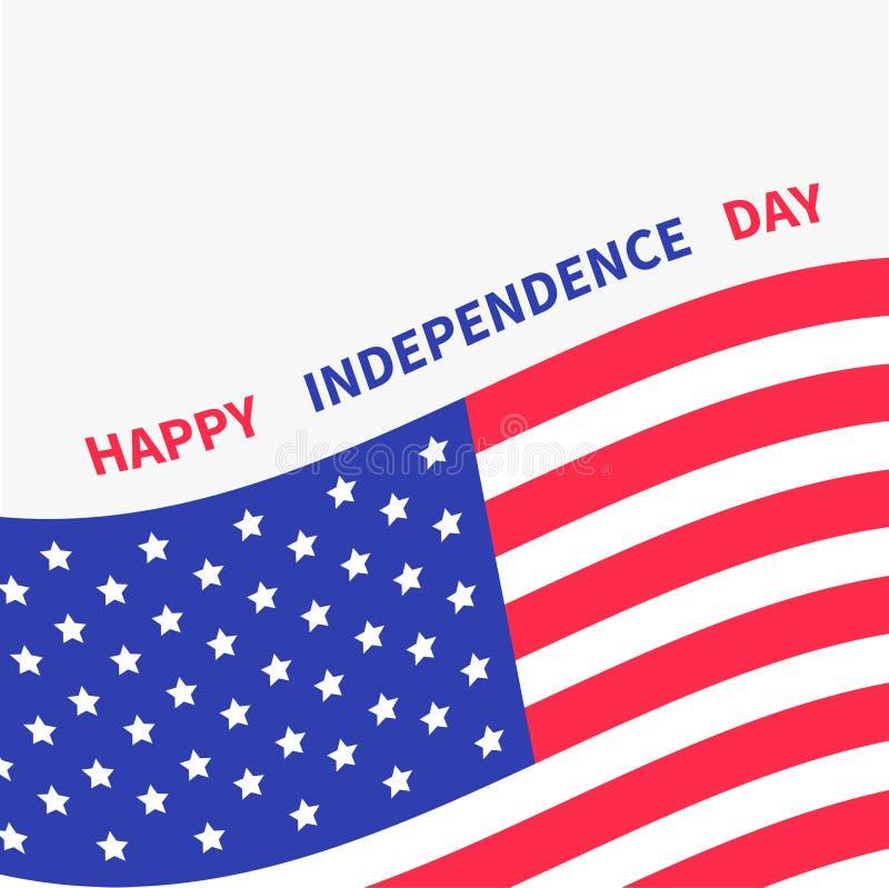Gelukkige onafhankelijkheid dag de Verenigde Staten van Amerika 4 van Juli Golvend Amerikaans vlagkader stock illustratie