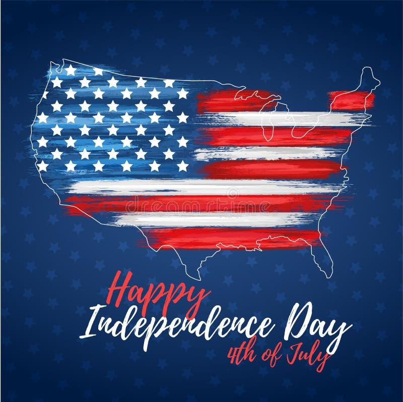 Gelukkige Onafhankelijkheid Dag vierde van Juli stock illustratie