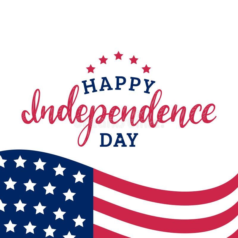 Gelukkige Onafhankelijkheidsdag van de kalligrafische affiche van de Verenigde Staten van Amerika, kaart enz. De vlagachtergrond  stock illustratie