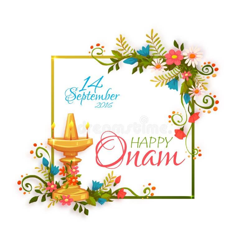 Gelukkige Onam-banner met kader Vector illustratie stock illustratie