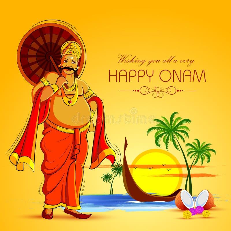 Gelukkige Onam-Festivalachtergrond van Kerala met Koning Mahabali royalty-vrije illustratie