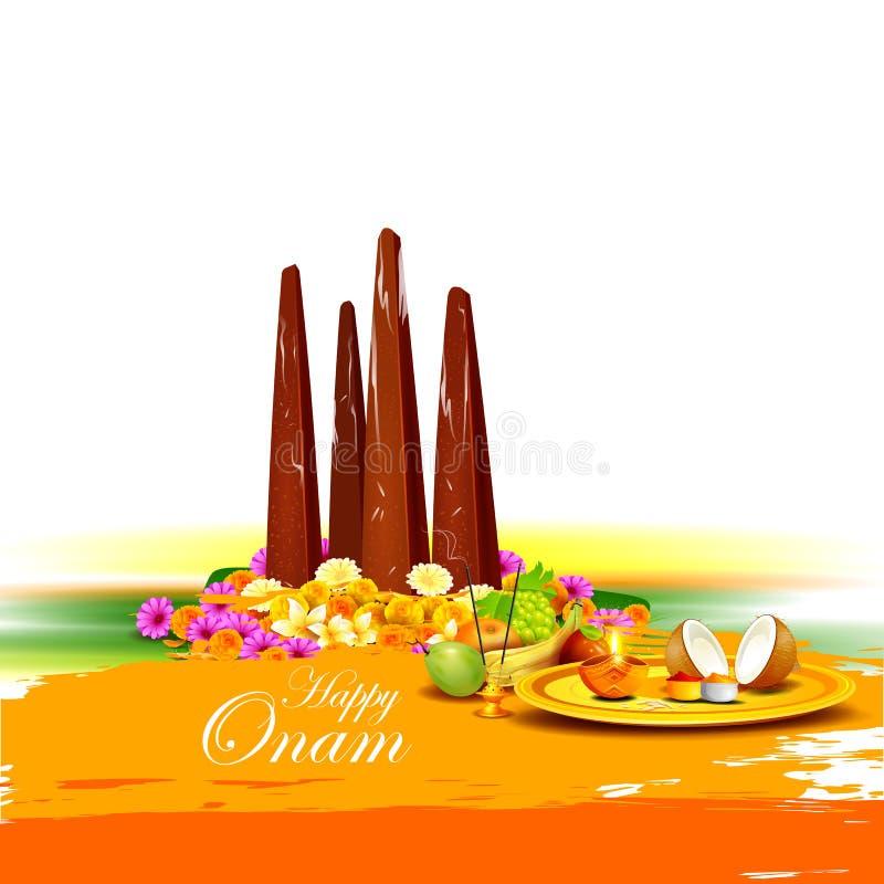 Gelukkige Onam-vakantie voor festivalachtergrond het Zuid- van India vector illustratie