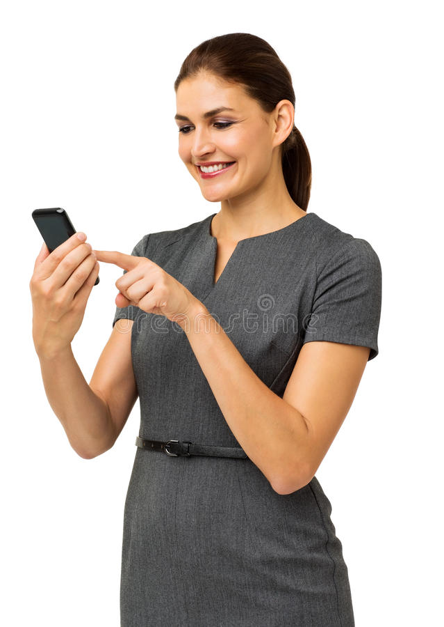 Gelukkige Onderneemster Touching Smart Phone stock foto's