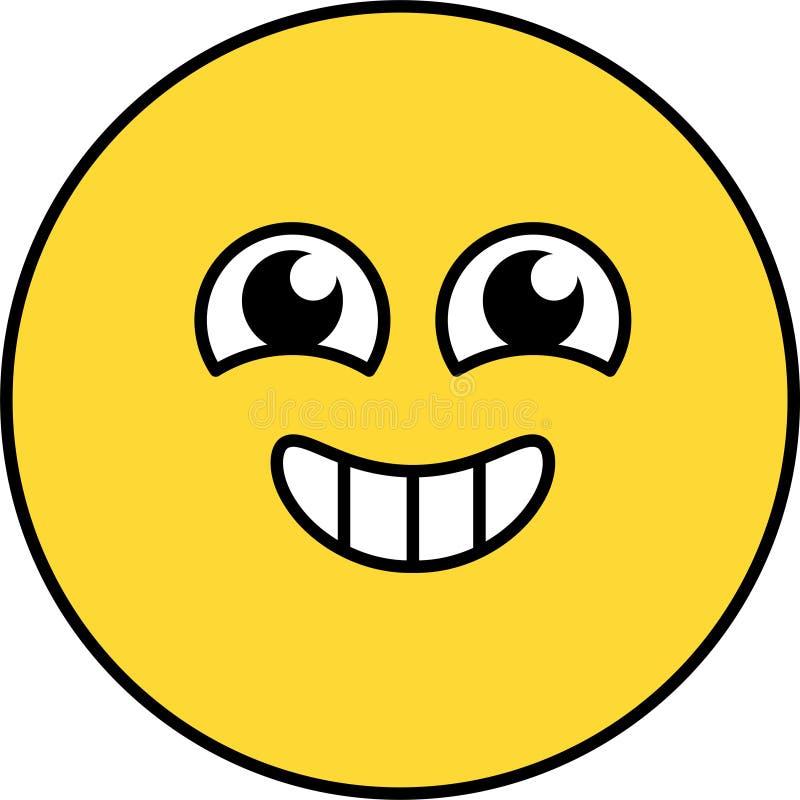 Gelukkige, opgewekte emoji vectorillustratie stock illustratie