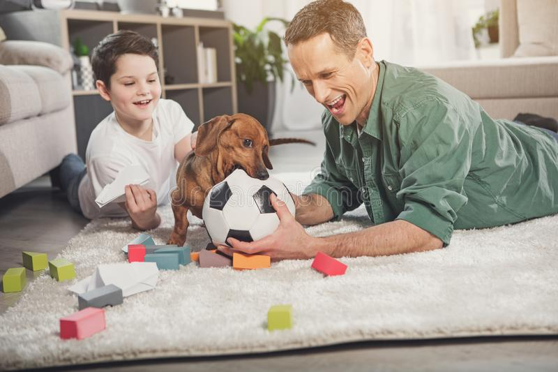 Gelukkige ouder en jongen die pret met puppy hebben royalty-vrije stock afbeeldingen