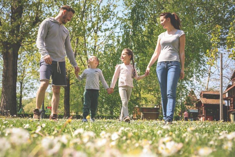 Gelukkige ouders die met hun kinderen in de weide spelen Gelukkig F royalty-vrije stock foto
