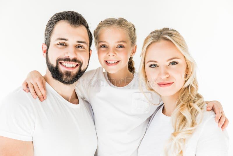 Gelukkige ouders met dochter stock afbeelding