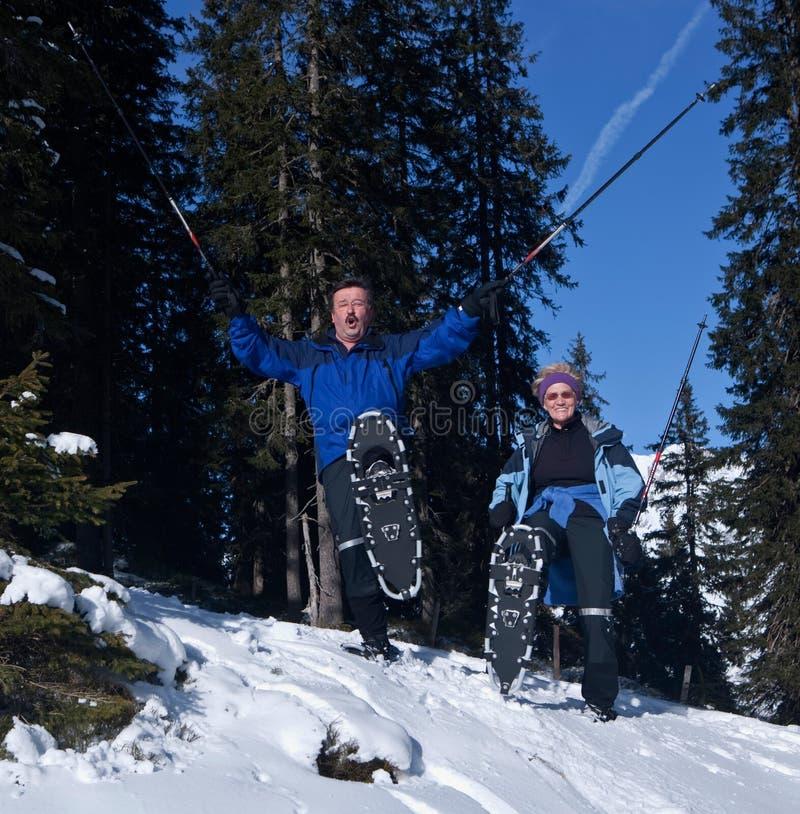 Gelukkige oudsten in de sneeuw royalty-vrije stock afbeelding