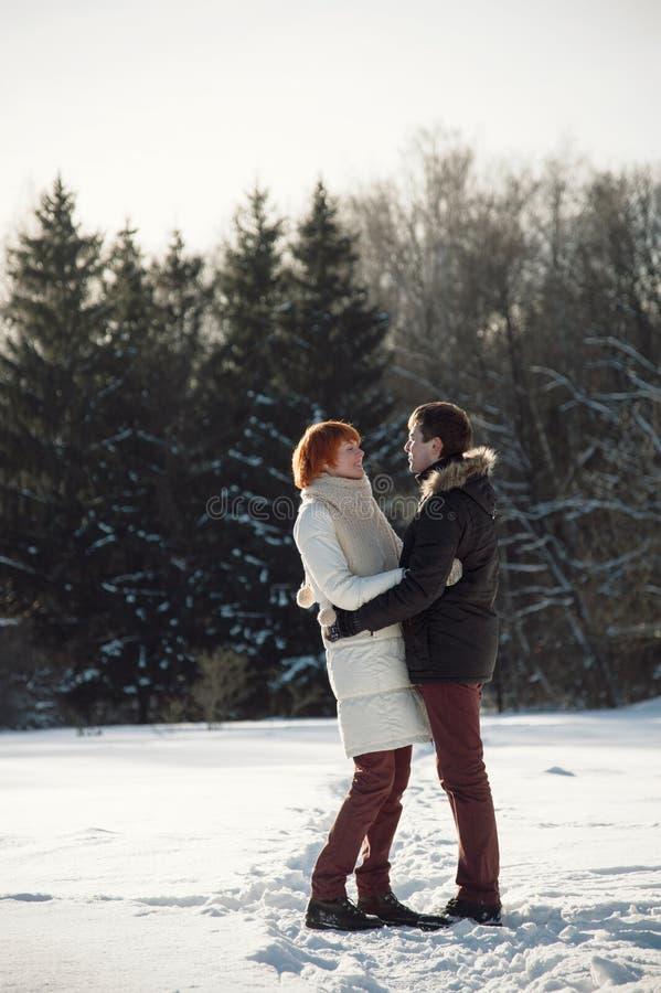 Gelukkige paaromhelzing in de winterpark stock fotografie