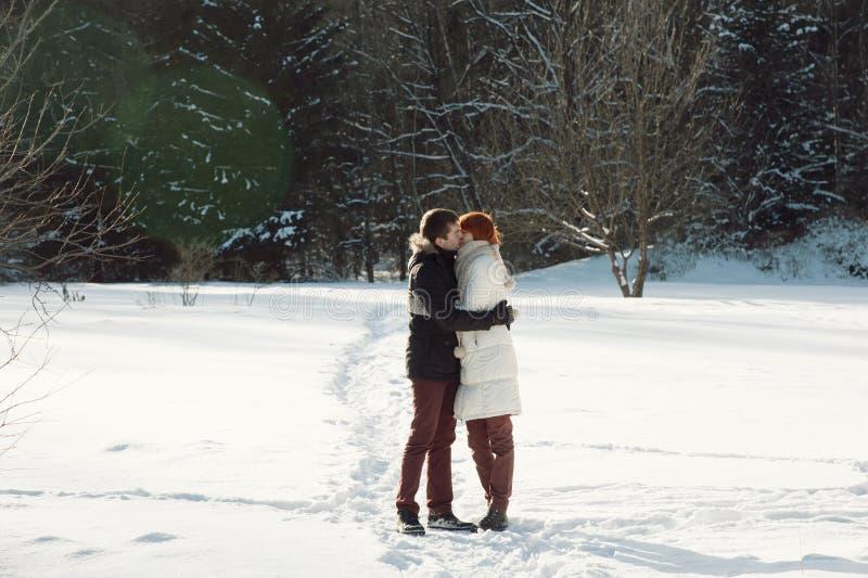 Gelukkige paaromhelzing en het kussen in de winterpark royalty-vrije stock fotografie