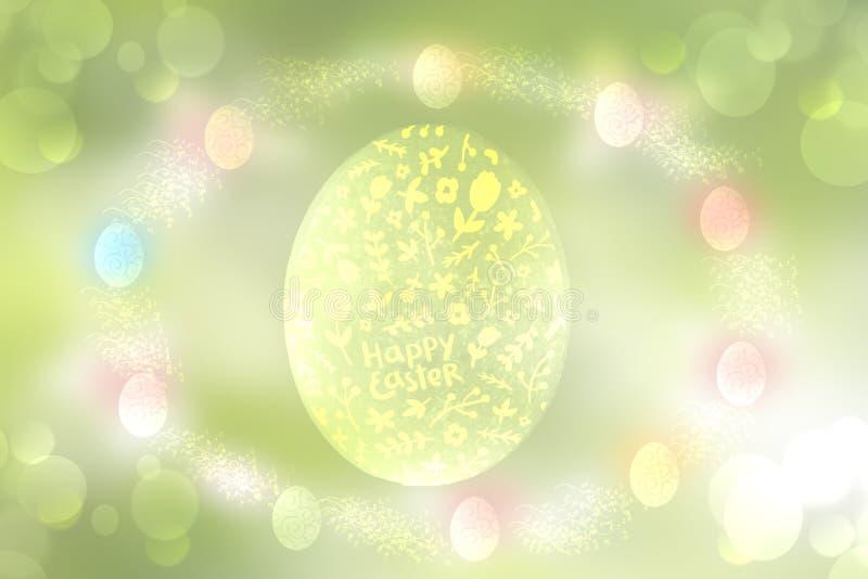 Gelukkige Pasen achtergrond De abstracte groene de lentetextuur als achtergrond met één groot ei en een rond kader van pastelkleu royalty-vrije illustratie