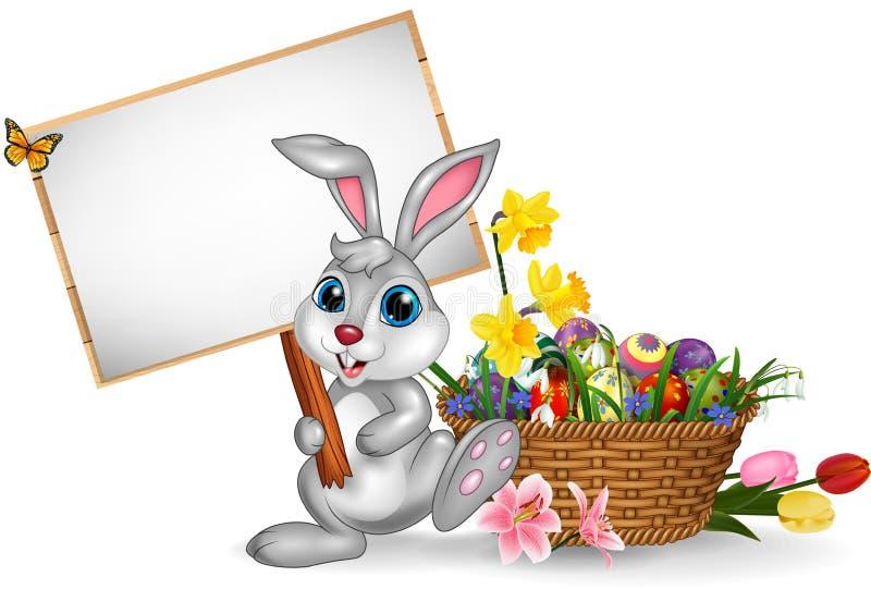 Gelukkige Pasen-achtergrond die met konijn een leeg teken houden royalty-vrije illustratie