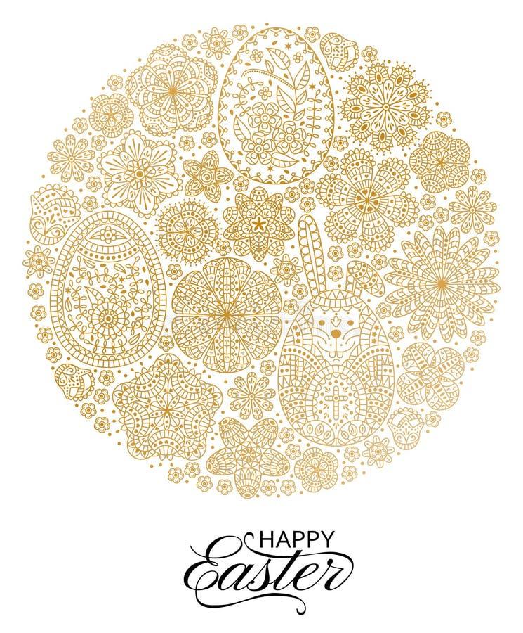 Gelukkige Pasen achtergrond Goed ontwerpmalplaatje voor banner, groetkaart, vlieger Sier witte konijntje, eieren en bloemen stock illustratie