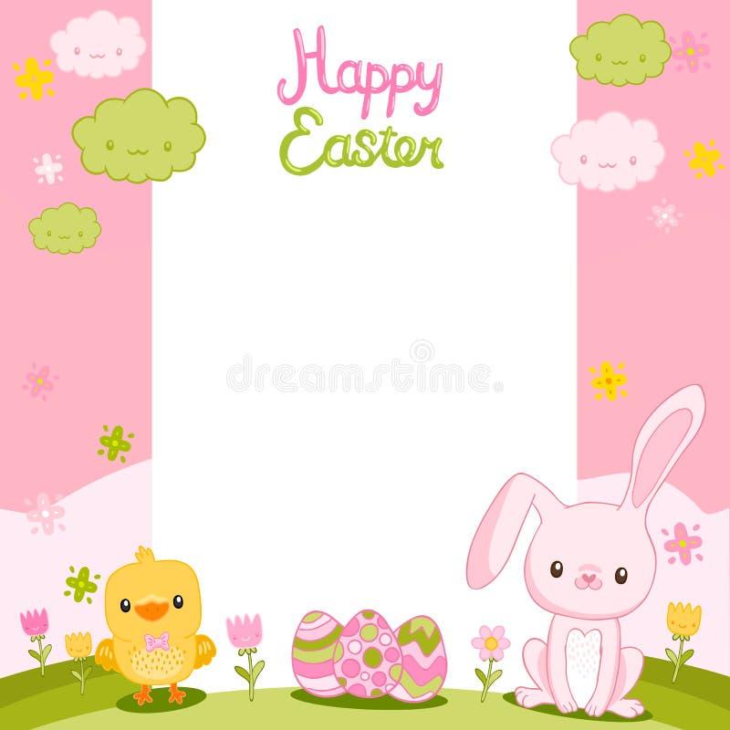 Gelukkige Pasen-achtergrond met beeldverhaal leuk konijntje vector illustratie