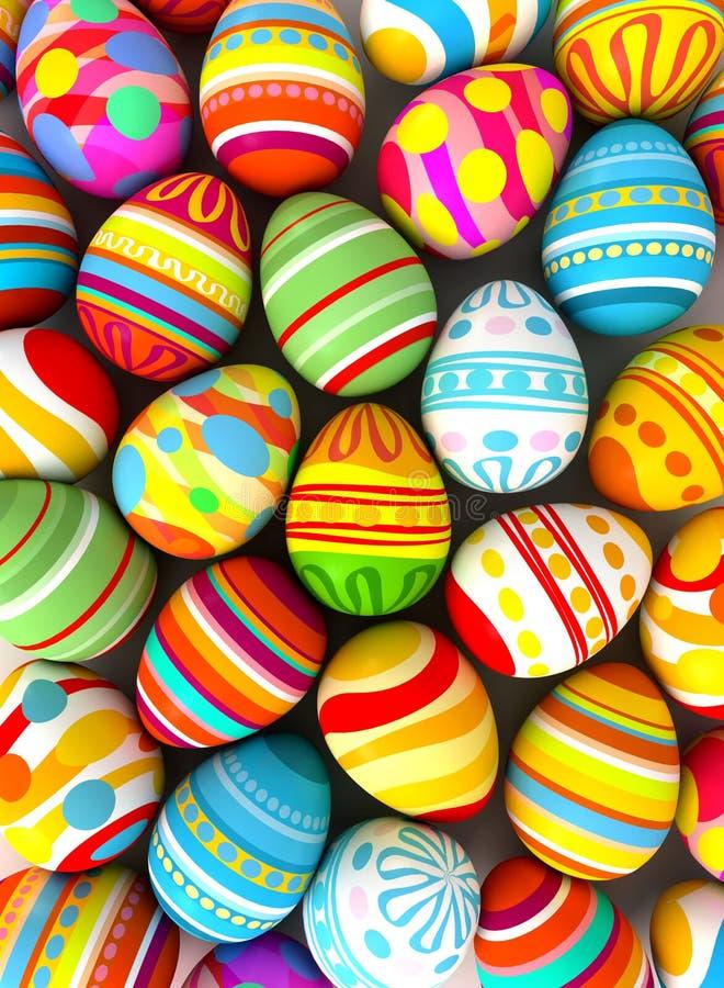 Gelukkige Pasen. Achtergrond met geschilderde eieren