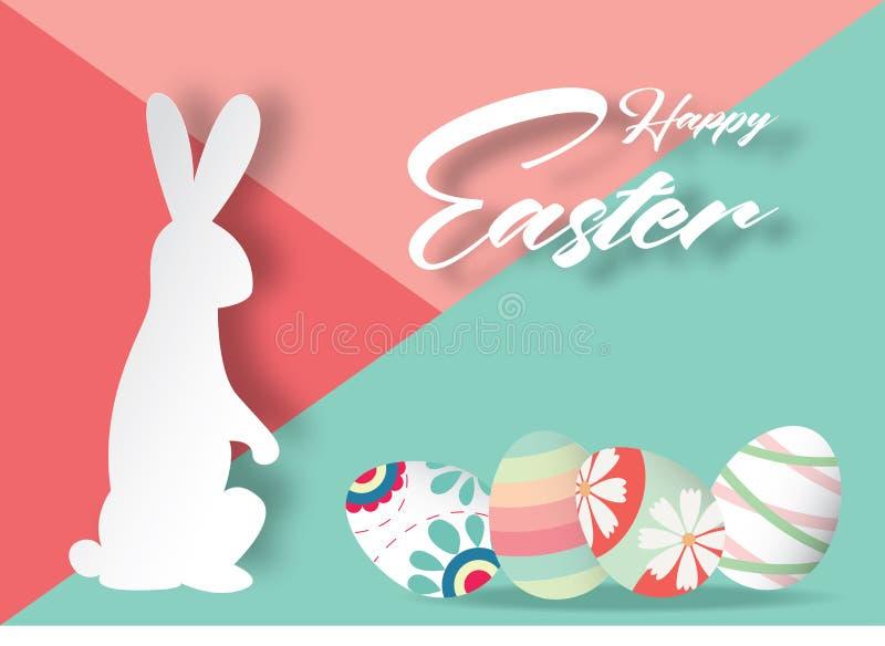 Gelukkige Pasen-achtergrond met konijn en mooie kleurrijke Easte royalty-vrije illustratie