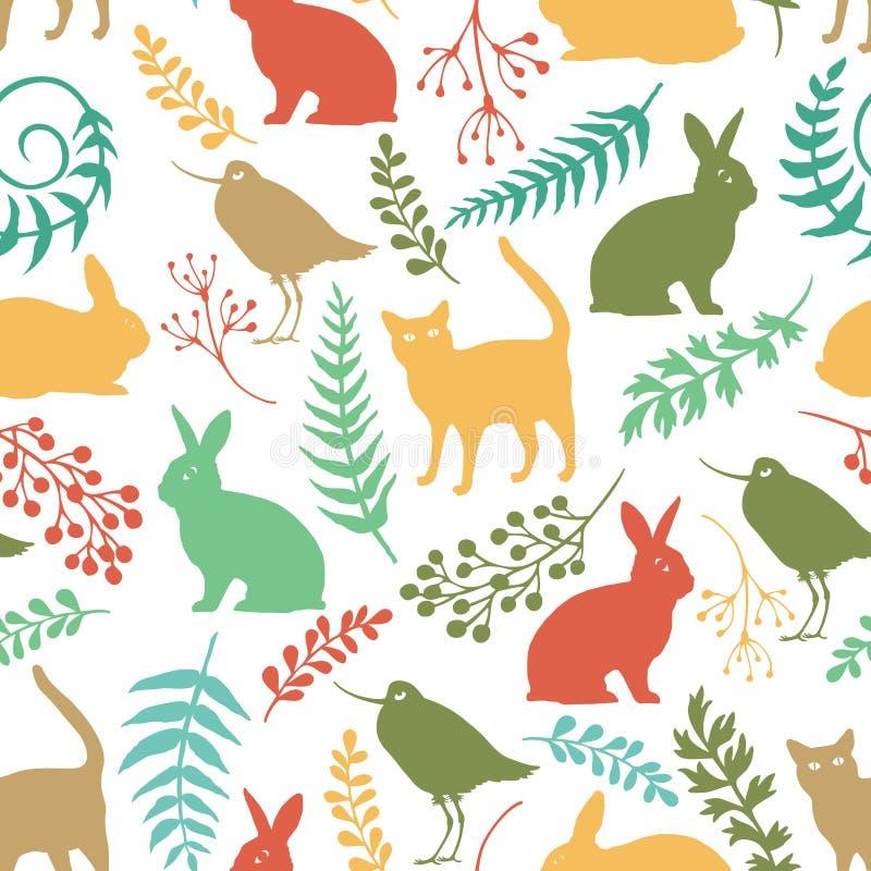 Gelukkige Pasen-achtergrond met konijnen, vogels en katten stock illustratie