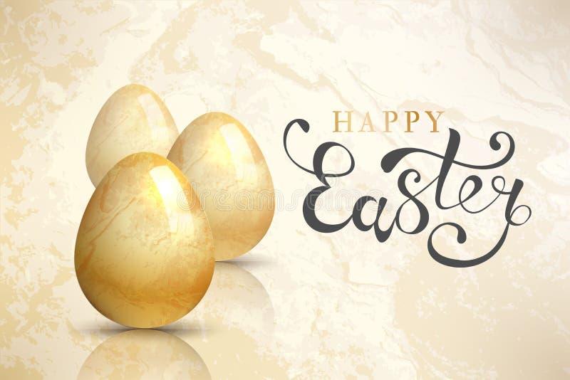 Gelukkige Pasen-achtergrond met realistische paaseieren Gele mobiele telefoon vector illustratie