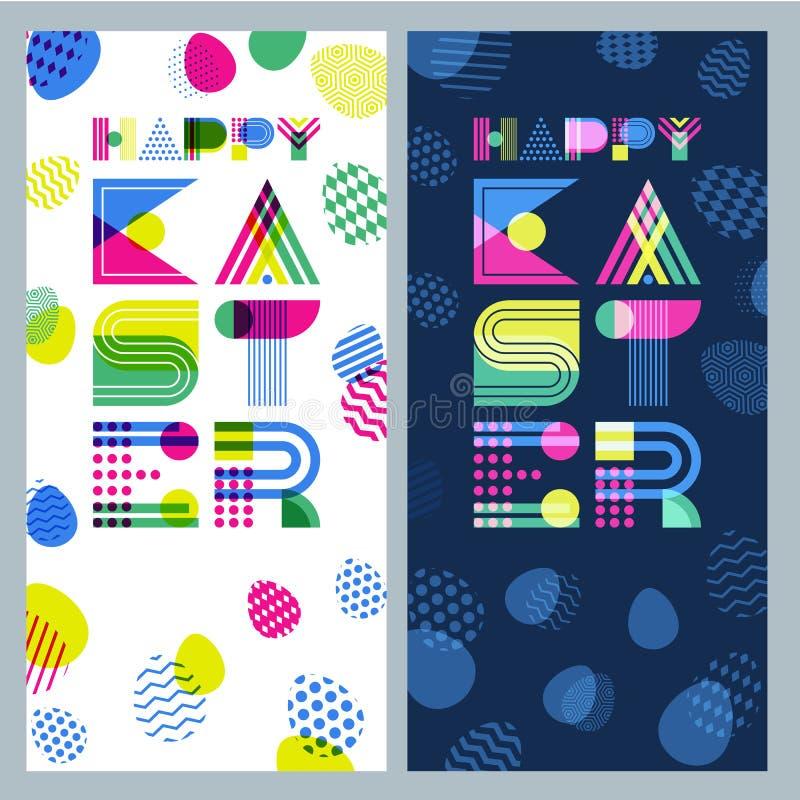 Gelukkige Pasen-bannerreeks Het geometrische van letters voorzien en kleurrijke paaseieren royalty-vrije illustratie